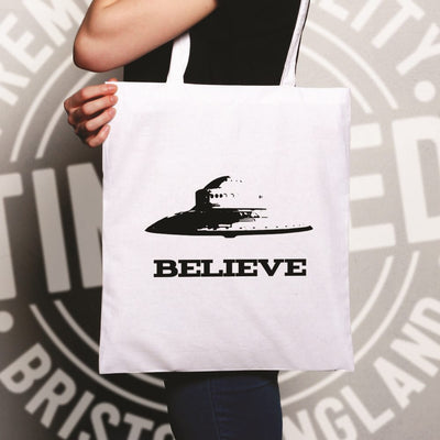 Alien Tote Bag Believe in UFO Flying Saucers