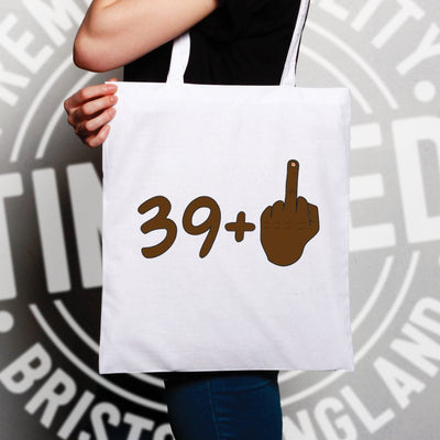 Rude 40th Birthday Tote Bag Black Middle Finger