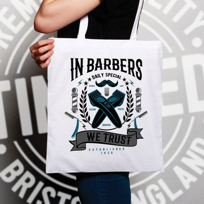 Novelty Tote Bag In Barbers We Trust Logo