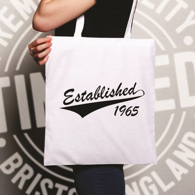 Birthday Tote Bag Established in 1965 Logo
