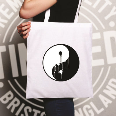 Art Tote Bag Painted Dripping Ying Yang Balance Symbol