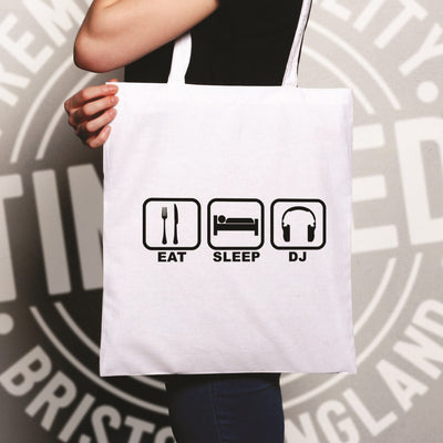 Novelty Tote Bag Eat, Sleep, Then DJ Symbols