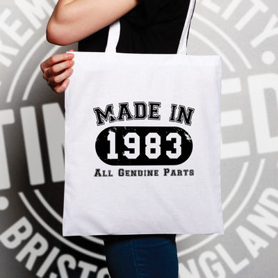 Birthday Tote Bag Made in 1983 All Genuine Parts