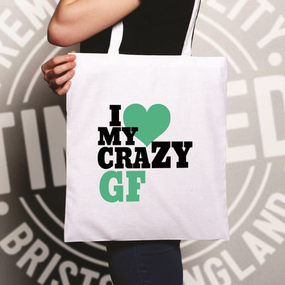 Fun Couples Tote Bag I Love My Crazy Girlfriend
