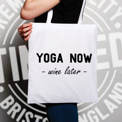 Novelty Gym Tote Bag Yoga Now, Wine Later Joke Slogan