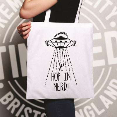 Novelty Alien UFO Tote Bag Hop In, Nerd! Slogan