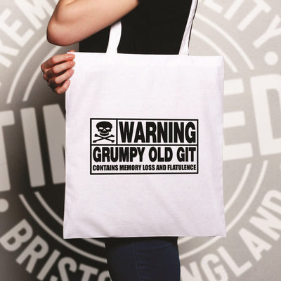 Novelty Tote Bag Warning, Grumpy Old Git Slogan Joke