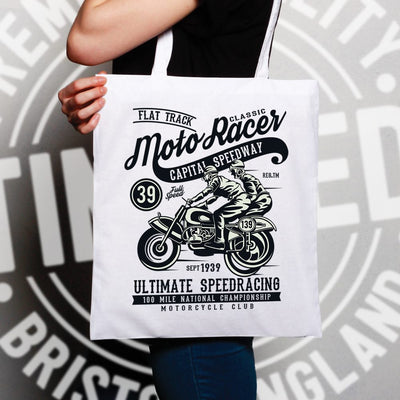 Tote Bag with Classic Moto Racer Artwork