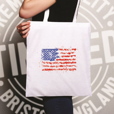 American Tote Bag Paint Splatter US Flag