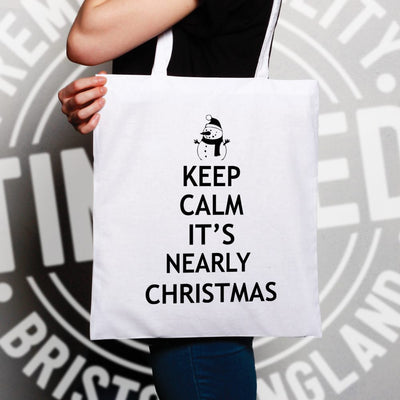 Christmas Tote Bag Keep Calm It's Nearly Xmas