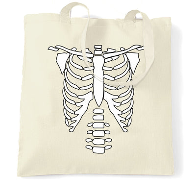 Halloween Tote Bag Skeleton Ribcage Chest
