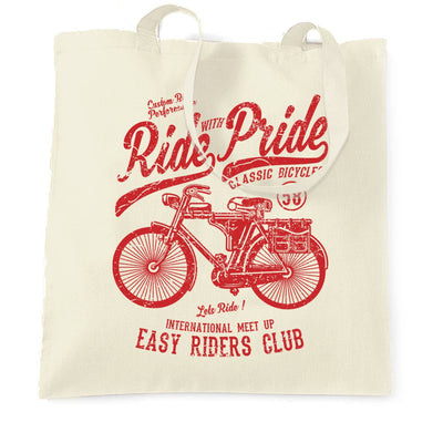 Cycling Womens Tee Ride With Pride Retro Cyclist Bike