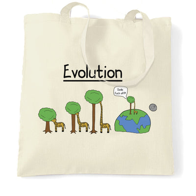 Novelty Tote Bag Evolution Of A Giraffe And Tree