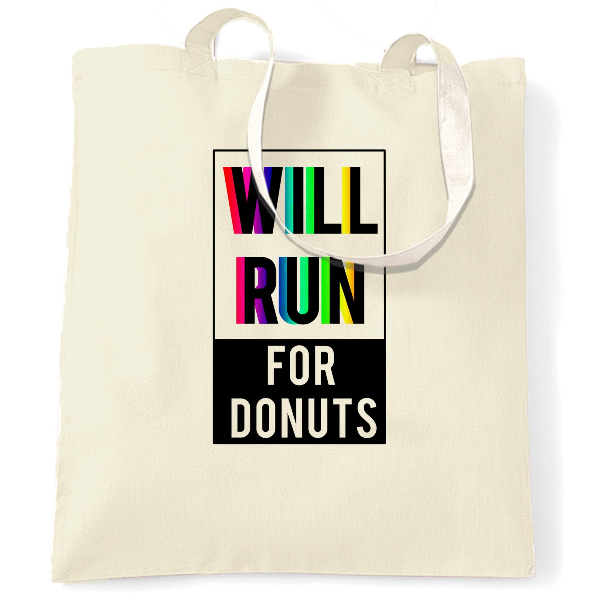 Novelty Tote Bag Will Run For Donuts Slogan