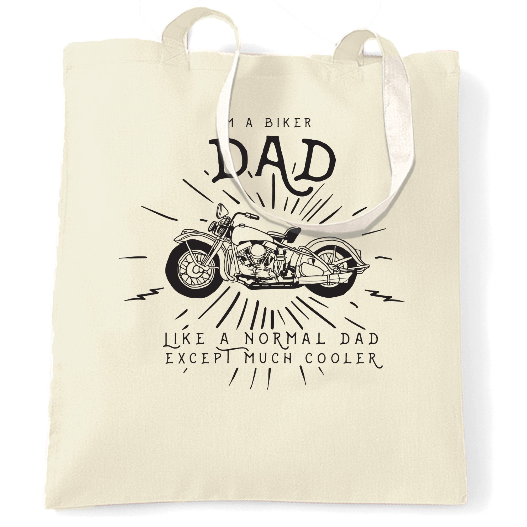 Motorcycle Tote Bag I'm A Biker Dad Slogan
