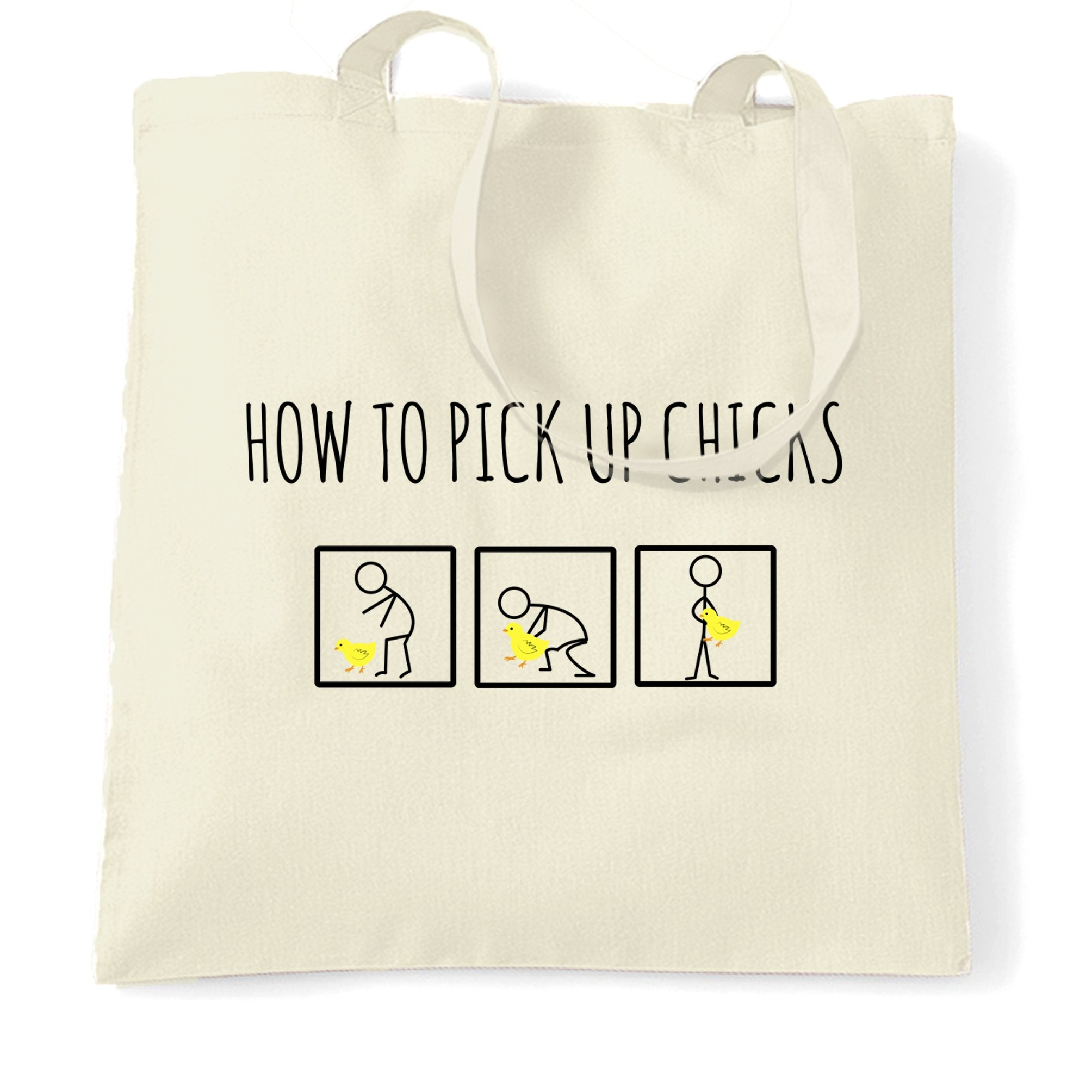 Novelty Tote Bag How To Pick Up Chicks Pun Joke