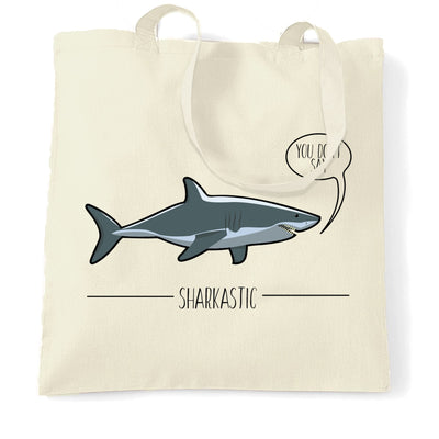 Shark Pun Tote Bag Sarcastic Sharkastic Joke