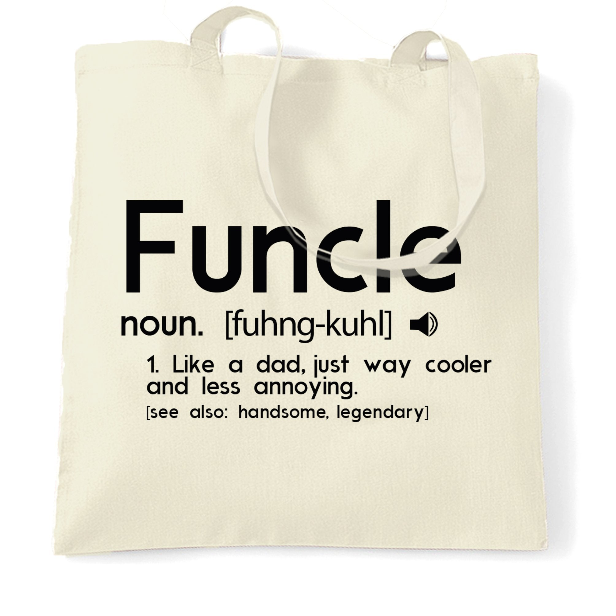 Novelty Tote Bag Funcle Fun Uncle Pun Definition Joke
