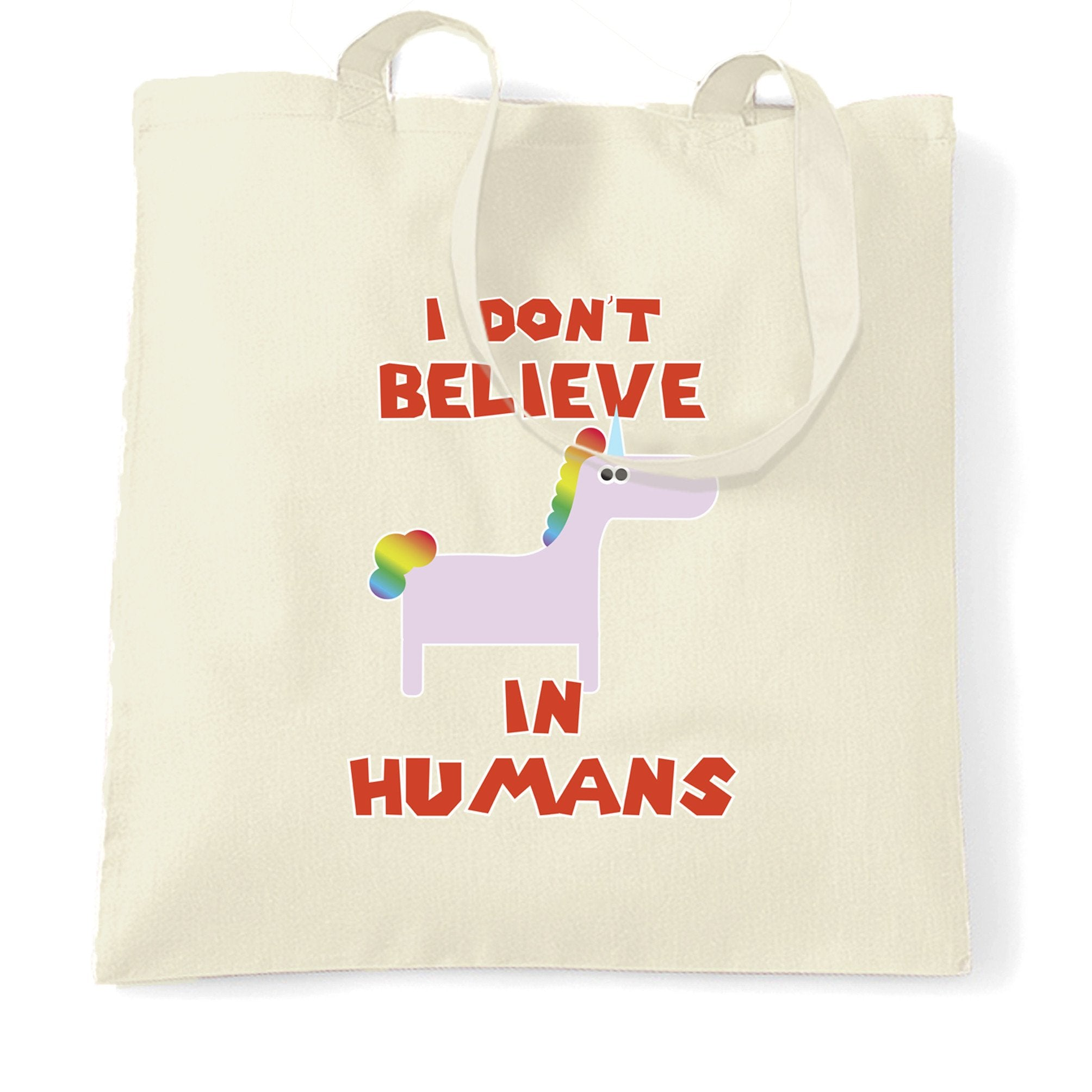Novelty Unicorn Tote Bag I Don't Believe In Humans