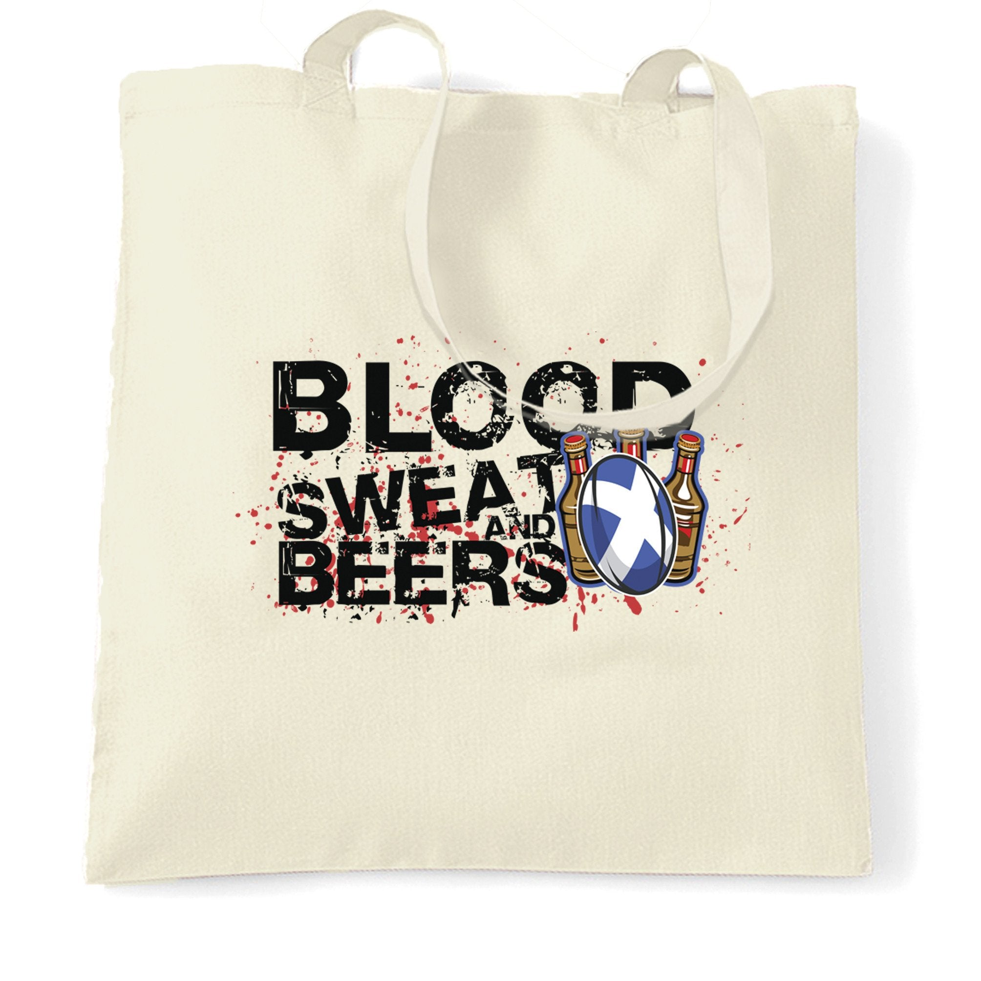 Scotland Rugby Supporter Tote Bag Blood, Sweat And Beer