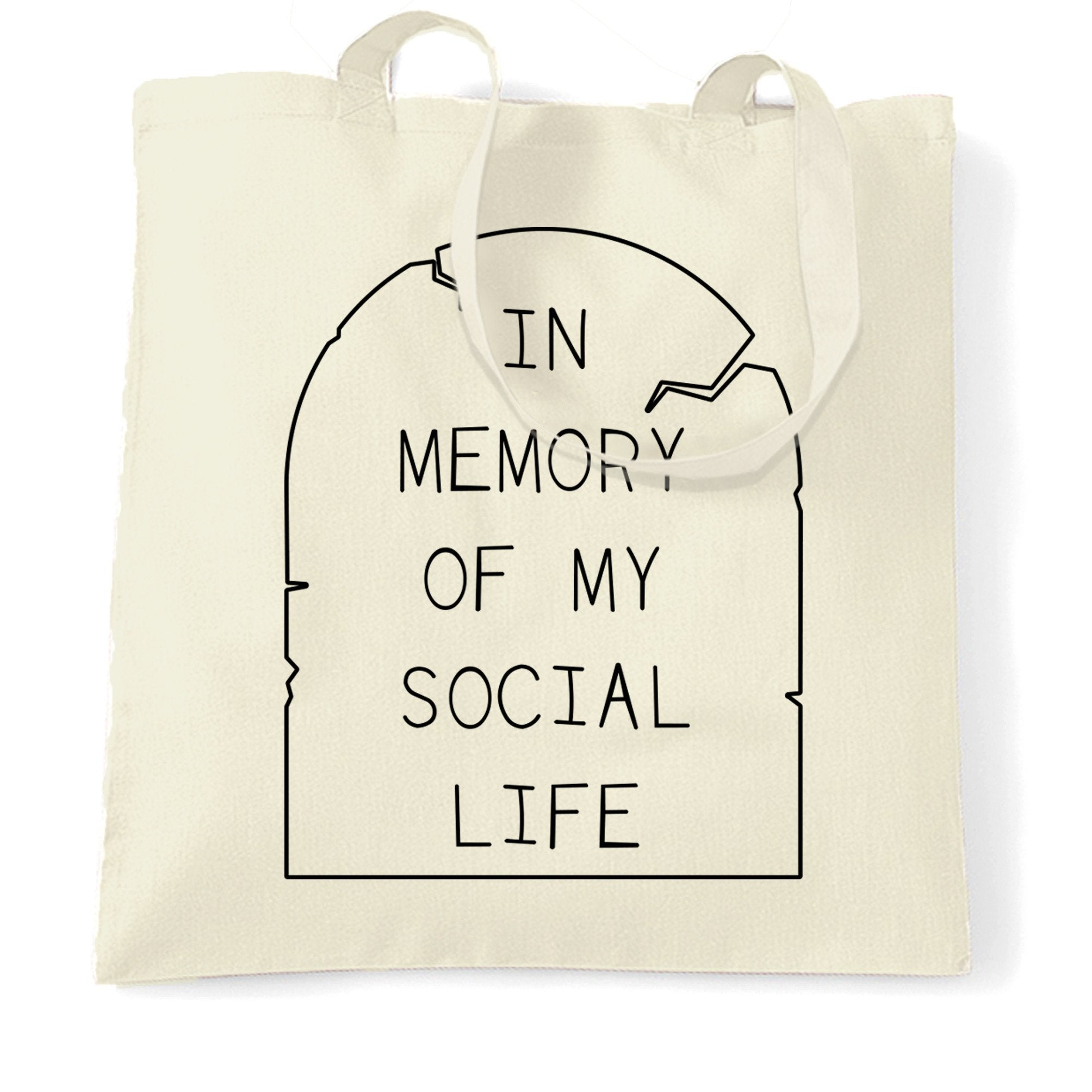 Novelty Tote Bag In Memory Of My Social Life Tombstone
