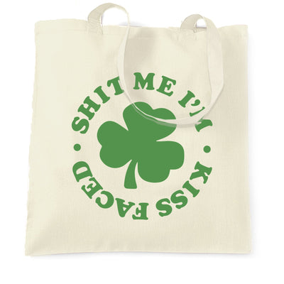 Novelty St Patricks Day Tote Bag Rude I'm Kiss Faced