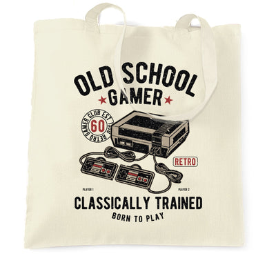Gaming Tote Bag Old School Gamer Retro Videogame Arcade