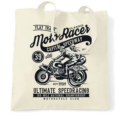 Biker Tote Bag with Classic Moto Racer Capital Speedway Art