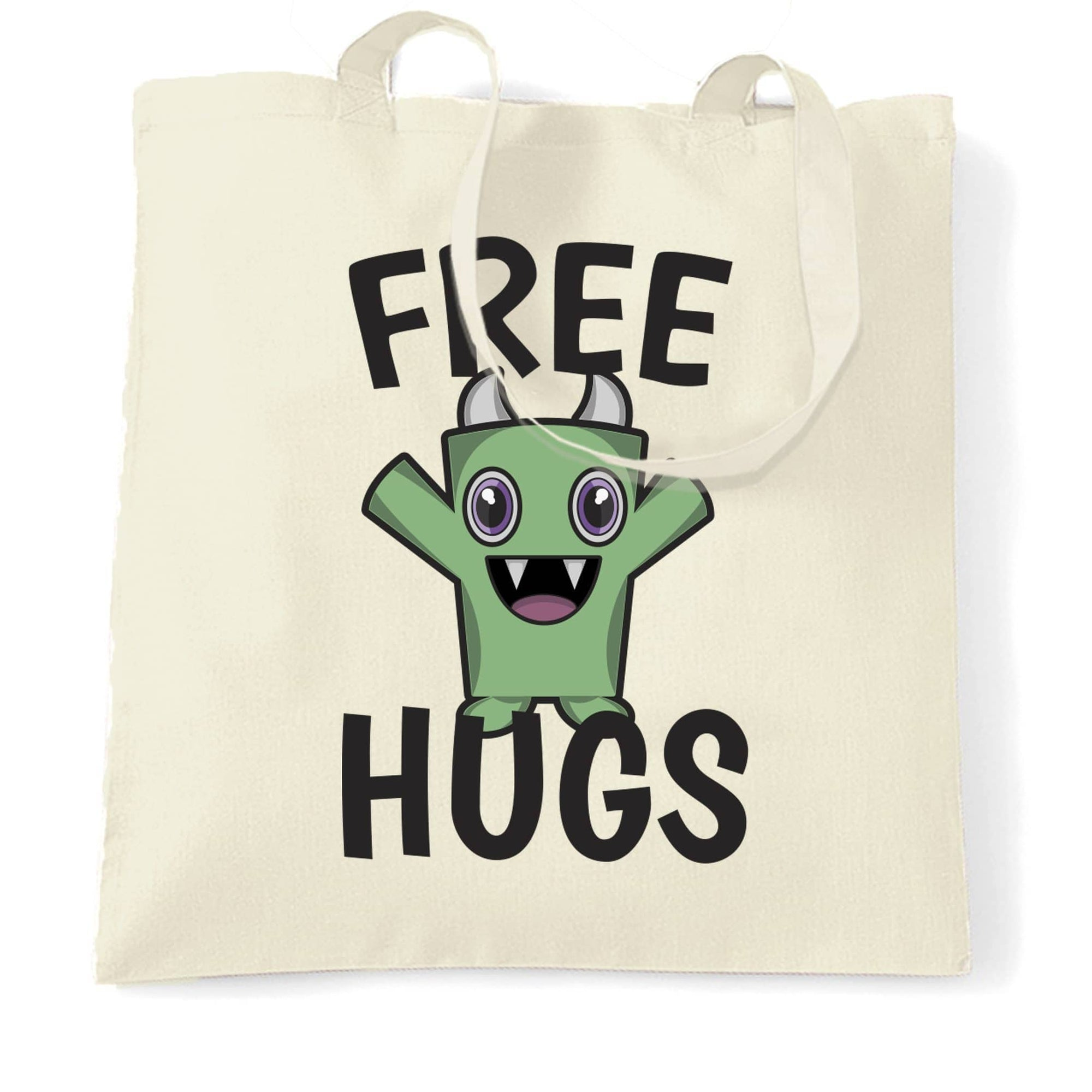 Festival Tote Bag Free Hugs Slogan With Cute Monster