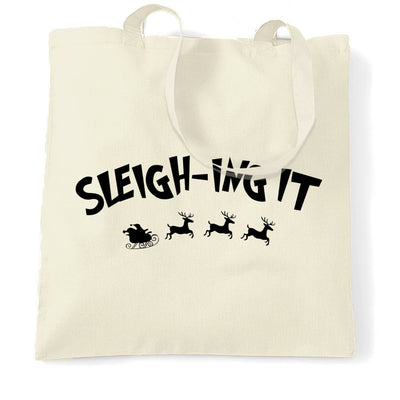 Joke Christmas Tote Bag Sleigh-ing Slaying It Pun