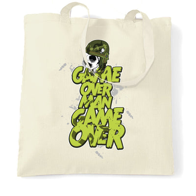 Movie Parody Tote Bag Game Over Man Slogan