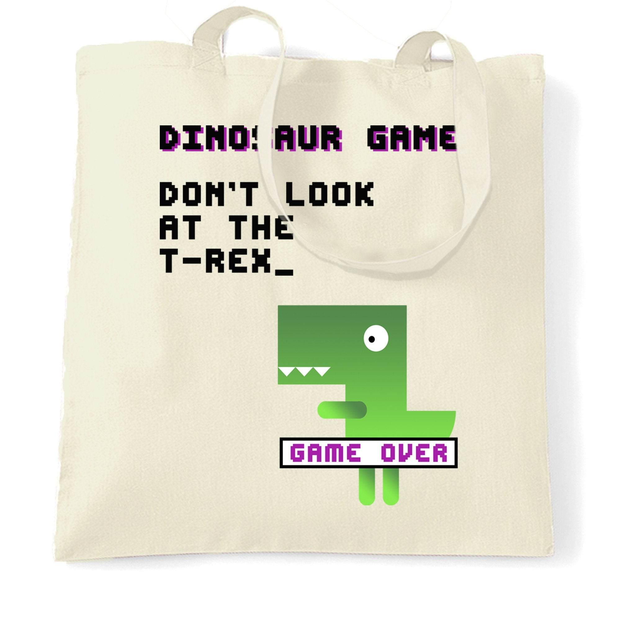 Novelty Tote Bag Don't Look At The T-Rex Game Joke