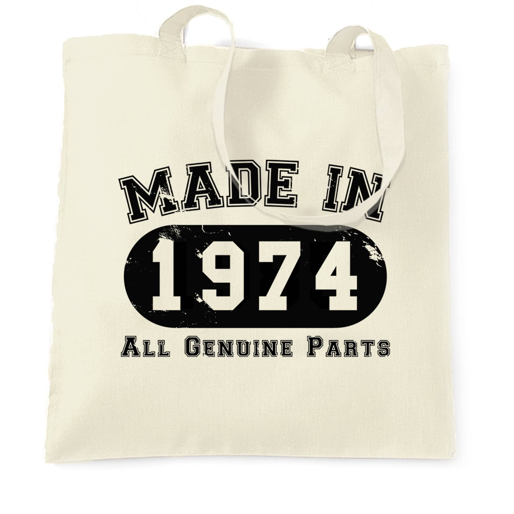 Birthday Tote Bag Made in 1974 All Genuine Parts