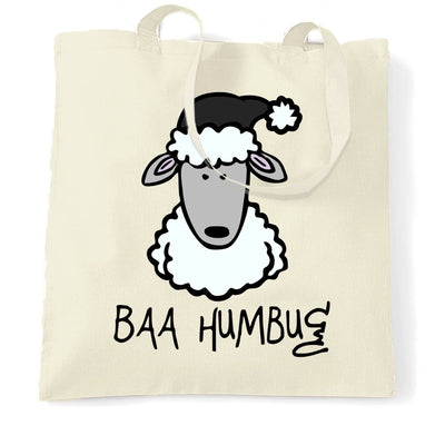 Joke Christmas Tote Bag Baa Humbug Sheep Pun