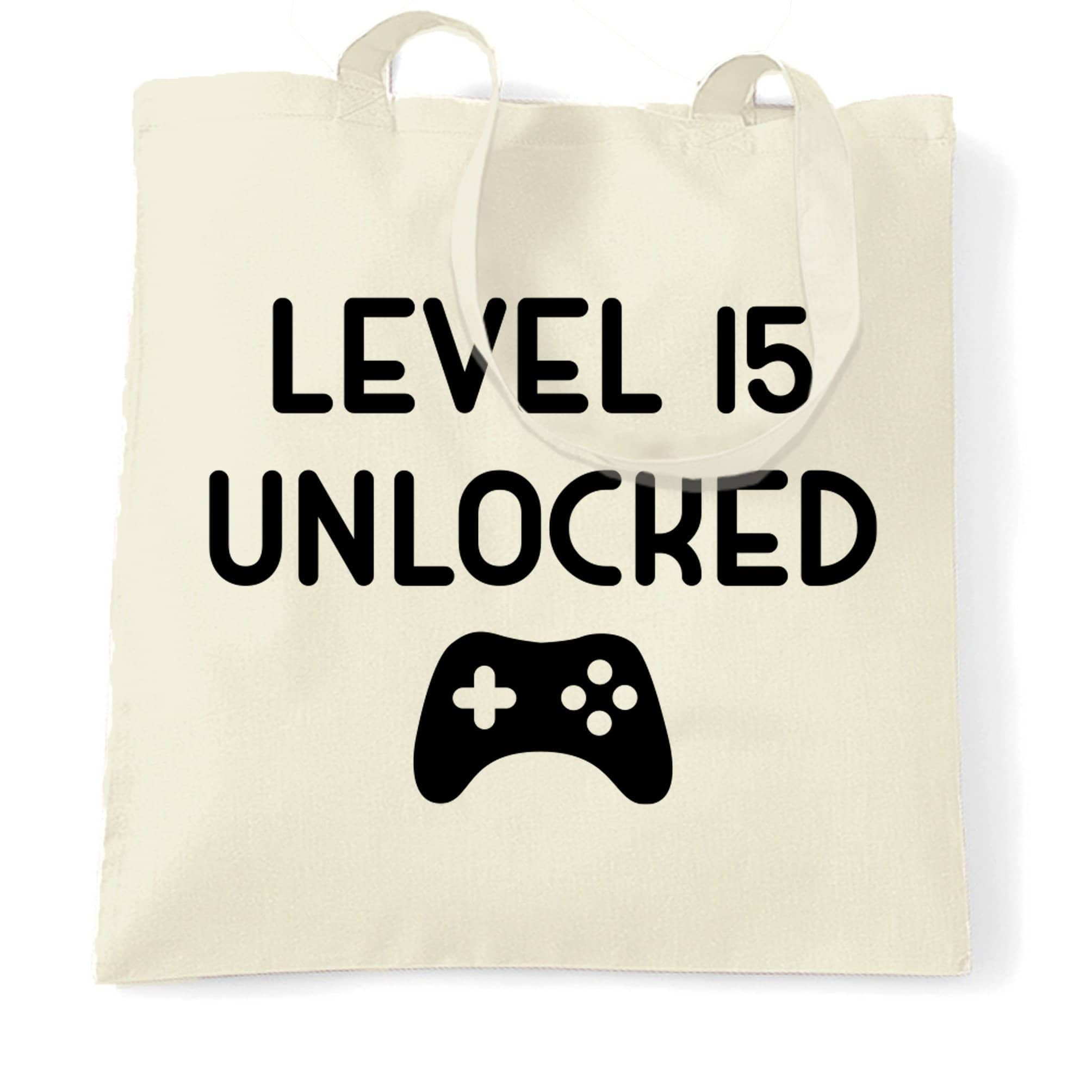 15th Birthday Gamer Tote Bag Level 15 Unlocked Slogan