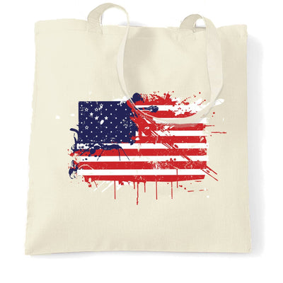 American Tote Bag Paint Splatter USA Flag