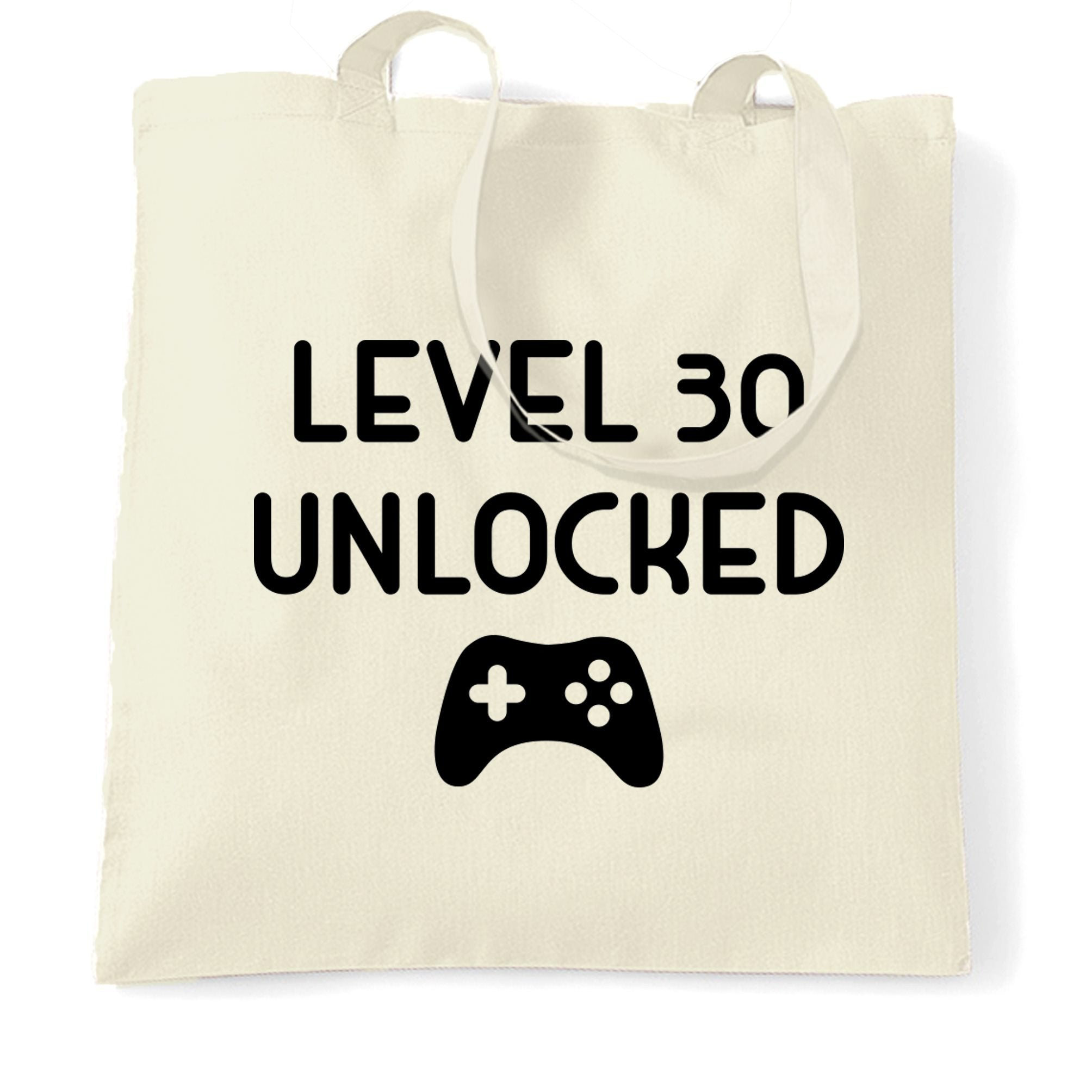 Gamers 30th Birthday Tote Bag Level 30 Unlocked Slogan