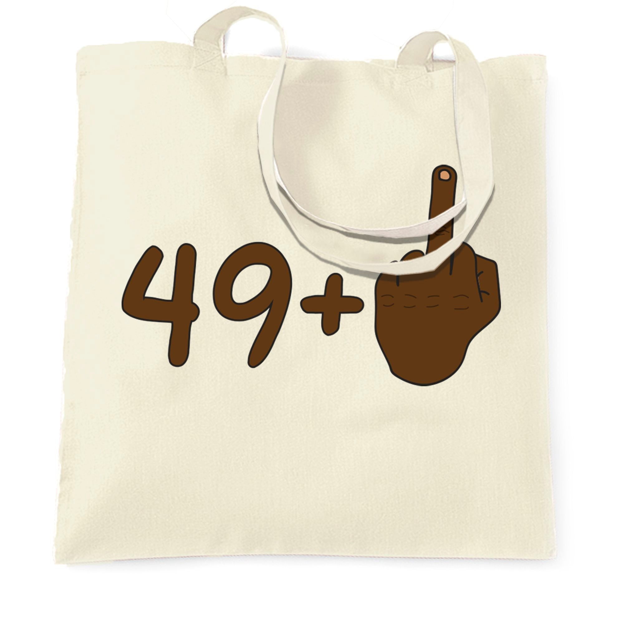 Rude 50th Birthday Tote Bag Black Middle Finger