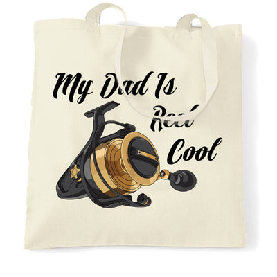 Father's Day Fishing Tote Bag My Dad Is Reel Cool Pun