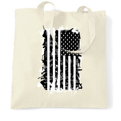 American Flag Tote Bag Stylised with Graffiti