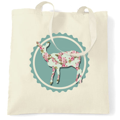 Vintage Logo Tote Bag Floral Patterned Deer Badge