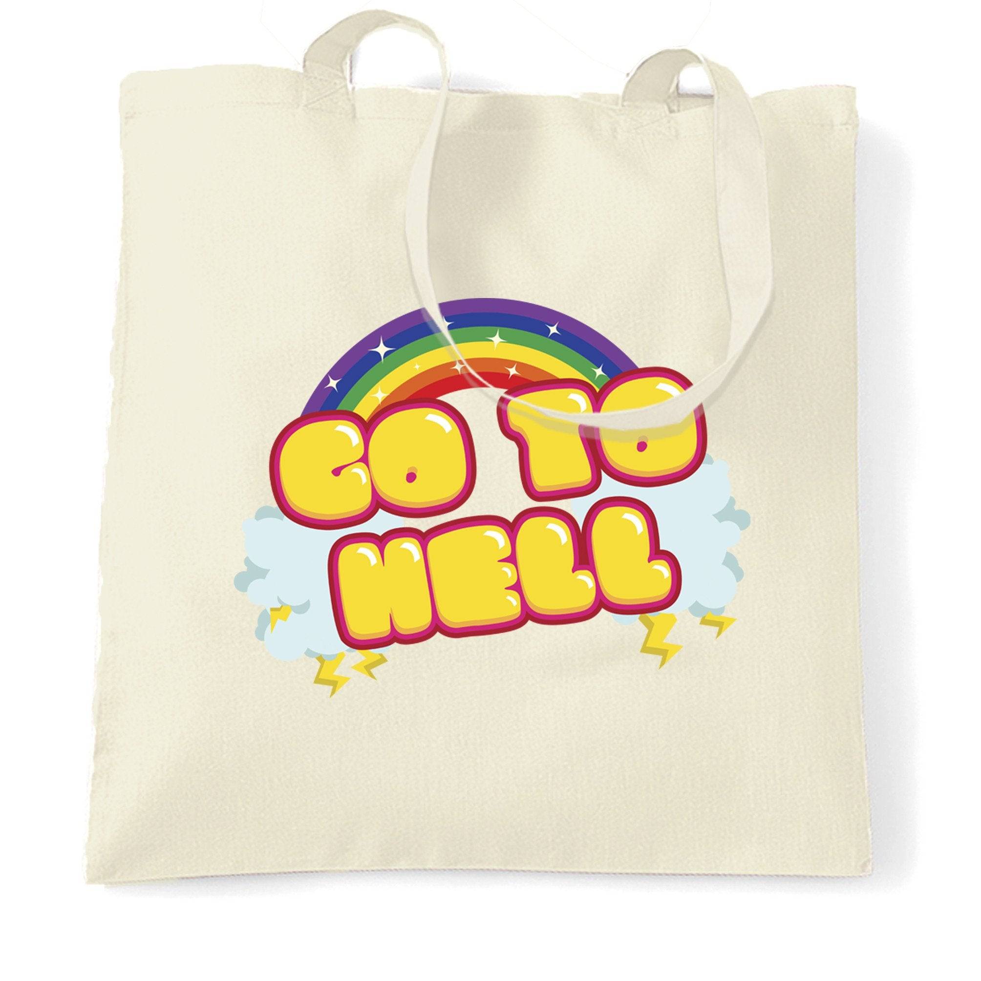 Novelty Rainbow Art Tote Bag Go To Hell Gothic Slogan