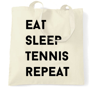 Sports Tote Bag Eat, Sleep, Tennis, Repeat Slogan