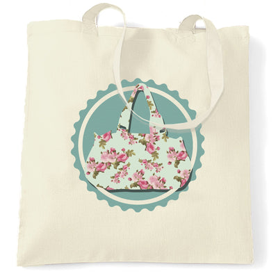 Vintage Logo Tote Bag Floral Patterned Handbag Badge