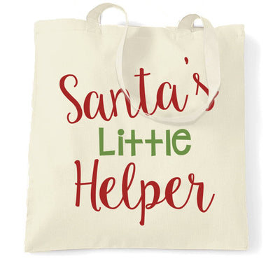 Christmas Tote Bag Santa's Little Helper Slogan