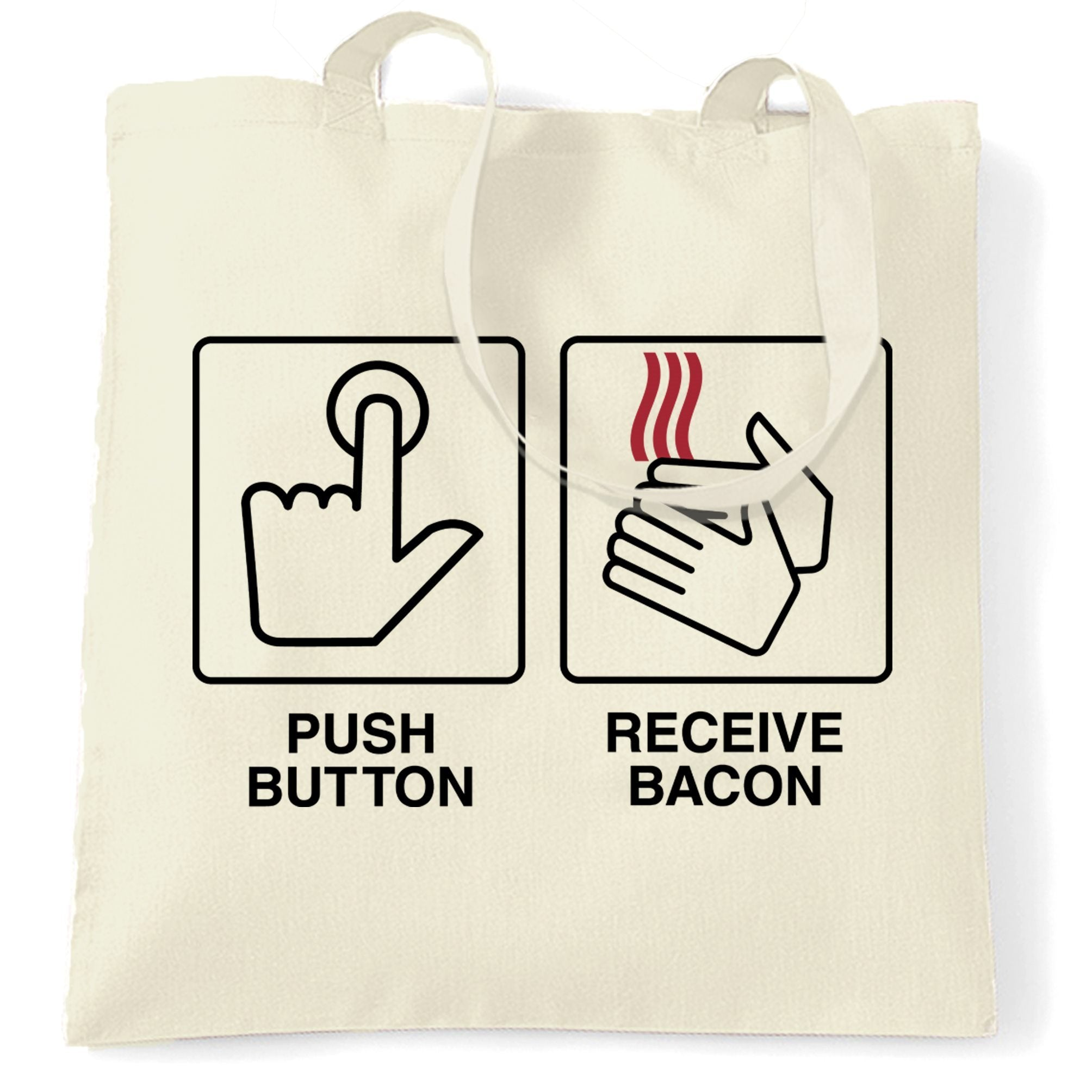 Novelty Tote Bag Push Button, Recieve Bacon Meme