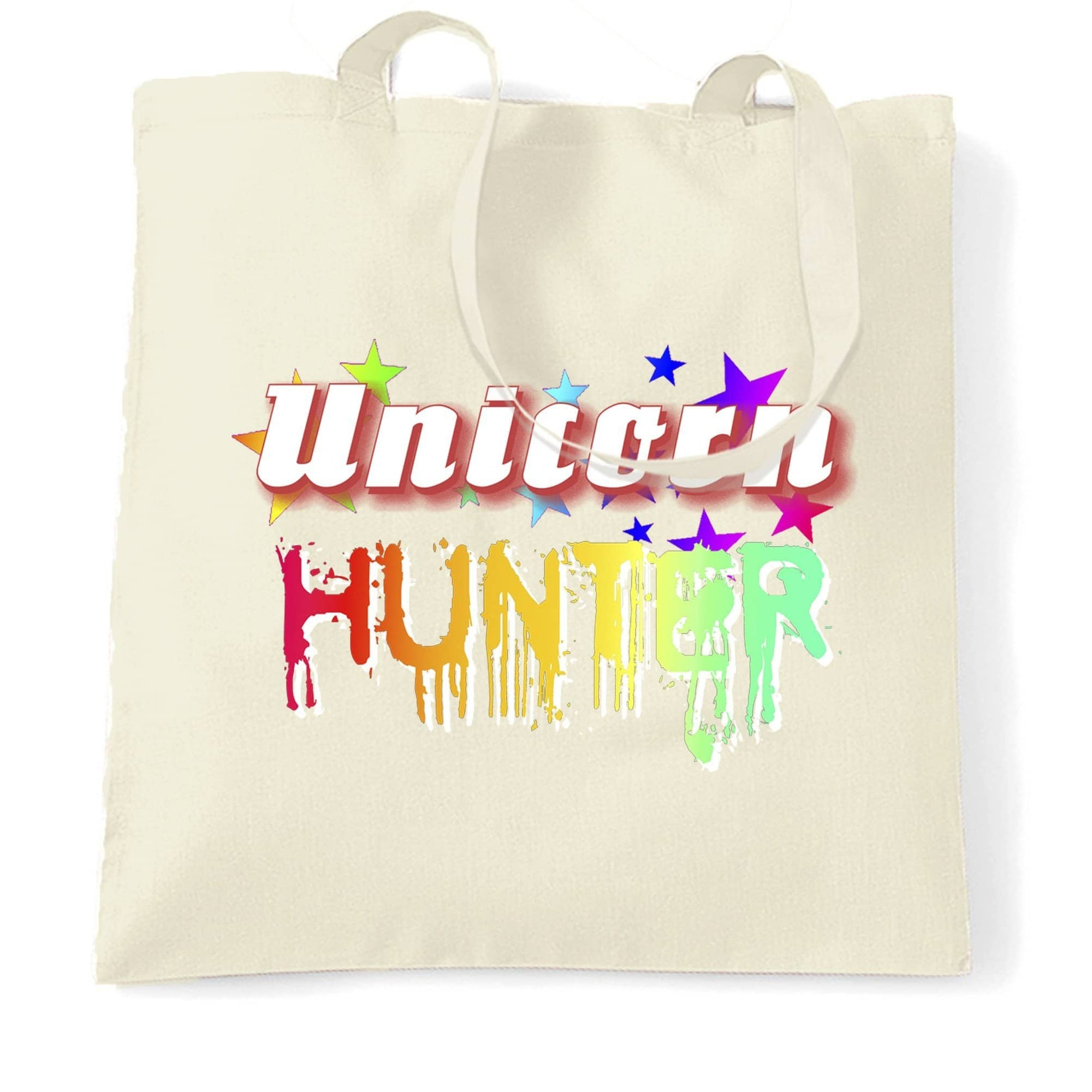 Fantasy Tote Bag Unicorn Hunter Rainbow Slogan