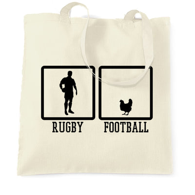 Joke Sports Tote Bag Rugby Vs Football Chicken Novelty