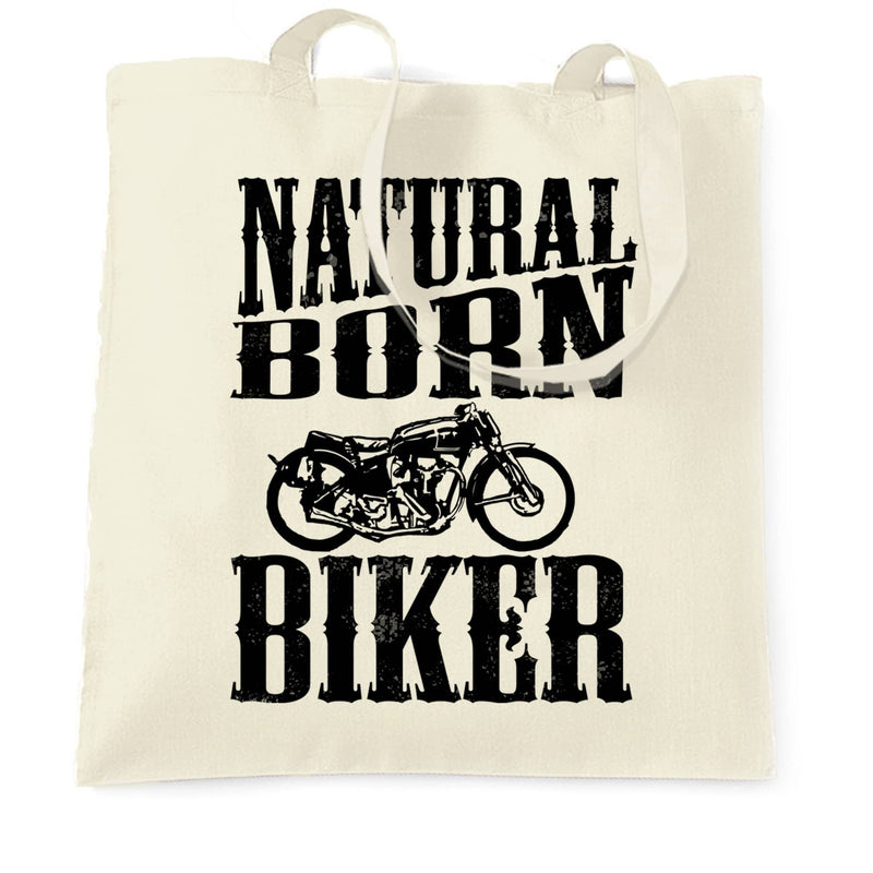 Biker Tote Bag Natural Born Biker Slogan