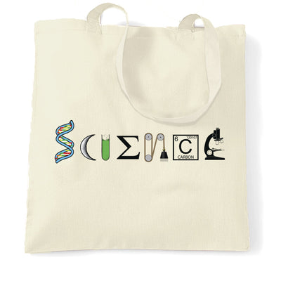 The Word Science Tote Bag Made From Scientific Things